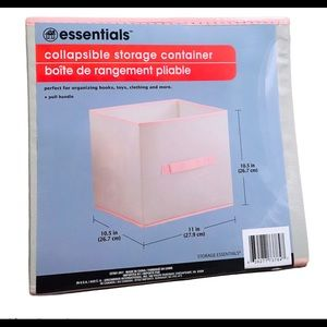 New Lot Of 4 Grey & Pink Collapsible Storage Bins